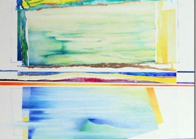 Disegno Azzurro e Oro - matite, acquerello e lamina d' oro su vartone Martello cm.50x50[2]