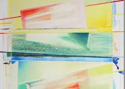 Disegno Giallo e Rosso, matite, lamina Oro e acquerello su cartene Martello cm.50x50[2]