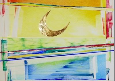 Disegno, Luna d'Oro. matite, acquerello9 e lamina di oro, cm.50x50[2]